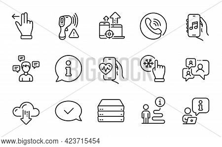 Technology Icons Set. Included Icon As Electronic Thermometer, Call Center, Music App Signs. Convers
