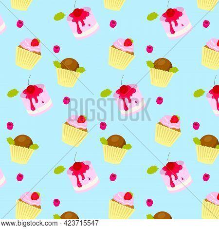 Seamless Bright Pattern With Cupcakes.cupcake Seamless Pattern, Background With Pink Color. Seamless