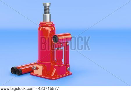 Hydraulic Bottle Jack On Blue Background, 3d Rendering