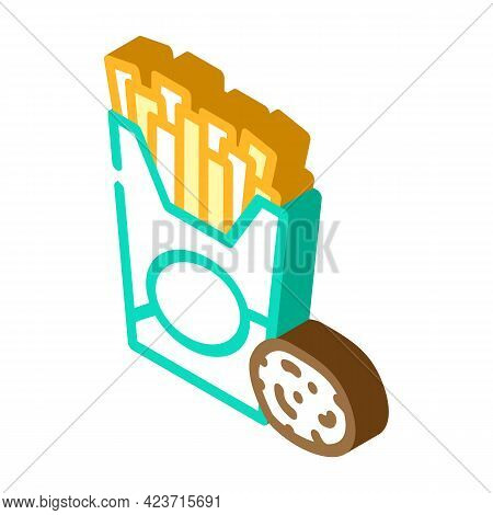 Fried Potato Gluten Free Isometric Icon Vector. Fried Potato Gluten Free Sign. Isolated Symbol Illus