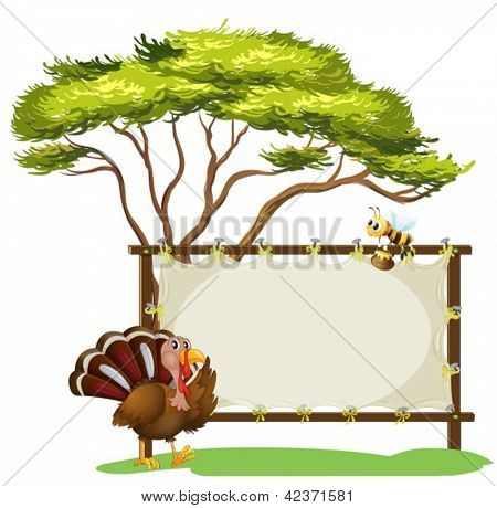 Illustration of a turkey and a bee on a white background