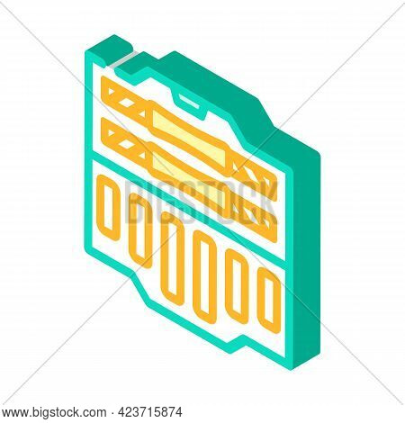 Suitcase With Prefabricated Dumbbells Gym Equipment Isometric Icon Vector. Suitcase With Prefabricat