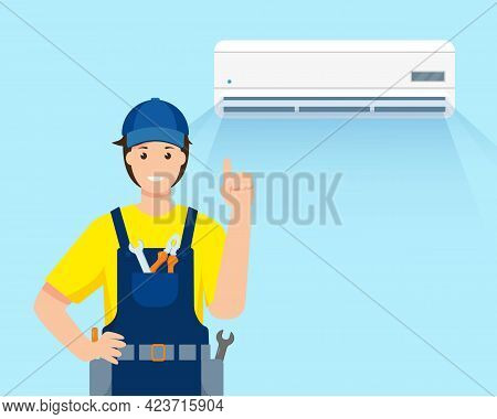 Air Conditioner Repair Service. Repair Man Character In Uniform And Working Conditioning System. Fri