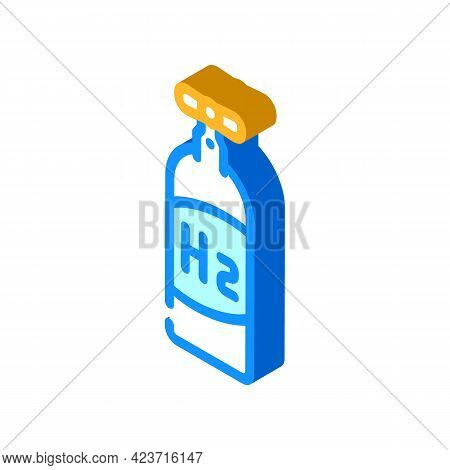 Cylinder Hydrogen Gas Isometric Icon Vector. Cylinder Hydrogen Gas Sign. Isolated Symbol Illustratio