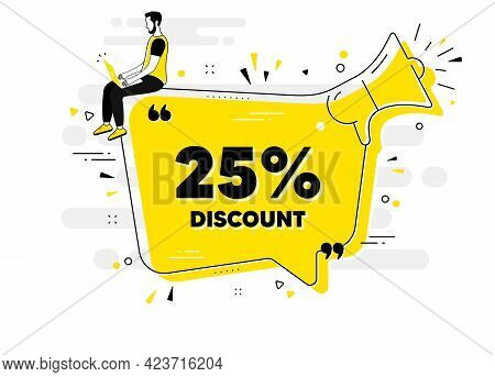 25 Percent Discount. Alert Megaphone Chat Banner With User. Sale Offer Price Sign. Special Offer Sym