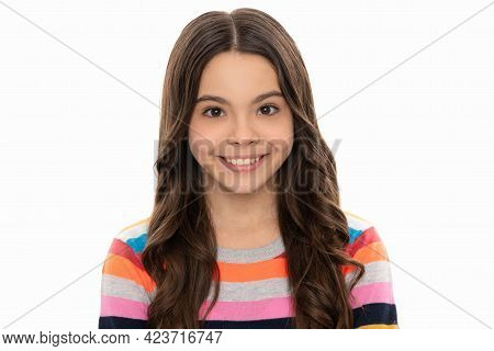 Happy Smile On Face. Smiling Child Face. Girl Portrait Isolated On White. Girlhood And Childhood