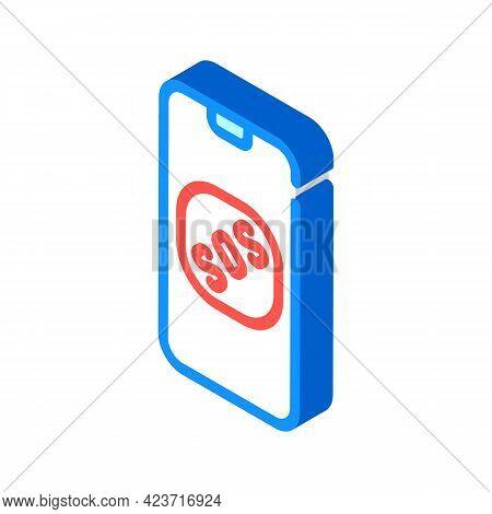 Sos Button On Smartphone Screen When Neurosis Isometric Icon Vector. Sos Button On Smartphone Screen
