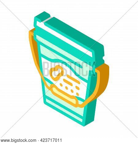 Bucket With Peanut Butter Isometric Icon Vector. Bucket With Peanut Butter Sign. Isolated Symbol Ill