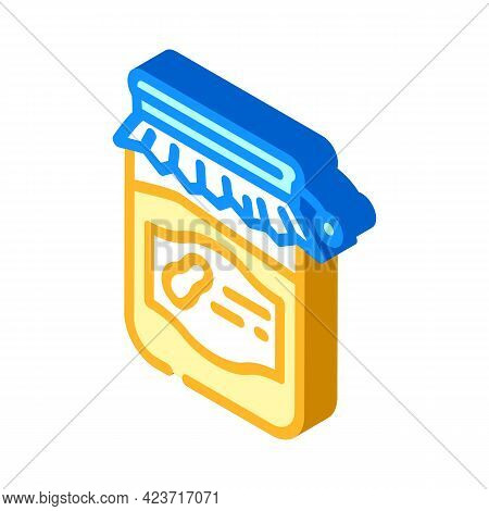 Homemade Peanut Butter Isometric Icon Vector. Homemade Peanut Butter Sign. Isolated Symbol Illustrat