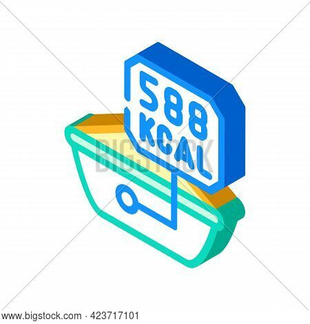 Calorie Content Of Peanut Butter Isometric Icon Vector. Calorie Content Of Peanut Butter Sign. Isola