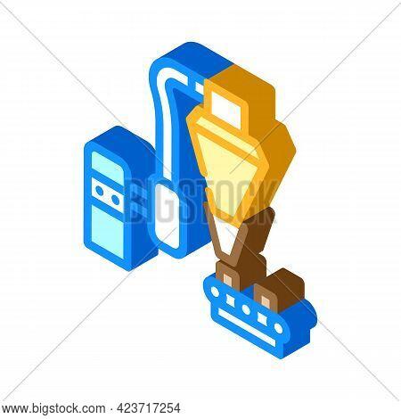 Production Peat Briquettes Isometric Icon Vector. Production Peat Briquettes Sign. Isolated Symbol I