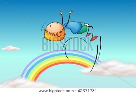Illustration of a boy jumping in the sky and a rainbow