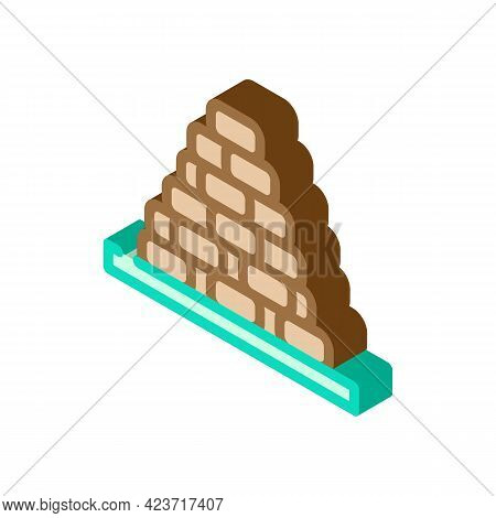 Heap Of Peat Isometric Icon Vector. Heap Of Peat Sign. Isolated Symbol Illustration