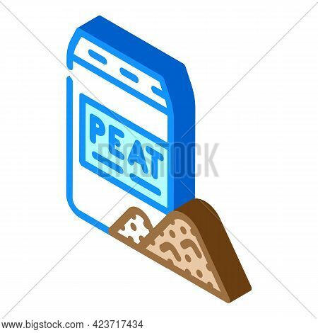 Bag Of Peat Isometric Icon Vector. Bag Of Peat Sign. Isolated Symbol Illustration