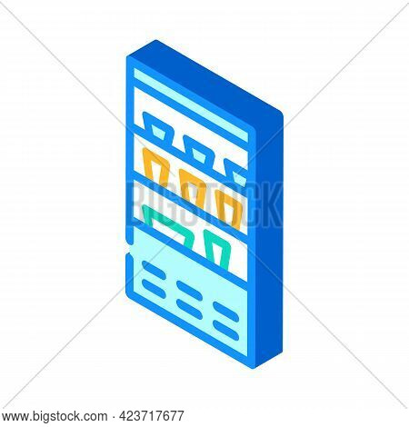Refrigerator With Food And Drink In Canteen Isometric Icon Vector. Refrigerator With Food And Drink