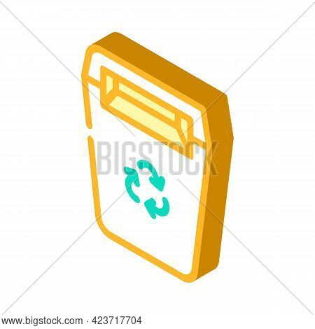 Recycling Garbage Can Canteen Isometric Icon Vector. Recycling Garbage Can Canteen Sign. Isolated Sy