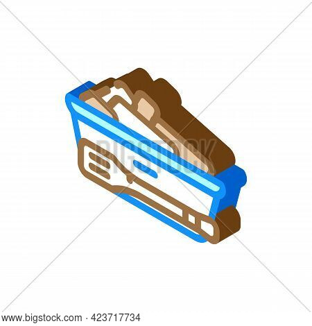 Bread Basket With Tongs In Canteen Isometric Icon Vector. Bread Basket With Tongs In Canteen Sign. I