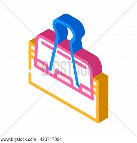 Clamp Stationery Isometric Icon Vector. Clamp Stationery Sign. Isolated Symbol Illustration
