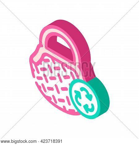 Bag Zero Waste Isometric Icon Vector. Bag Zero Waste Sign. Isolated Symbol Illustration
