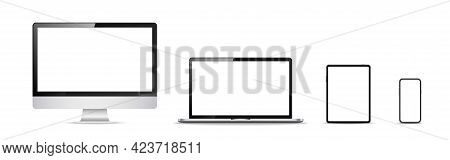 Computer, Laptop, Tablet, Phone. Mockup Collection On White Backdrop. Realistic Electronic Devices.