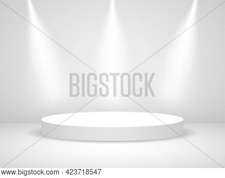 Podium Round With Light. White Realistic Stage With Spotlights. Illuminated Circle With Shadow. Whit