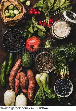 Vegetables, Grains, Greens And Fruit For Vegan Healthy Diet
