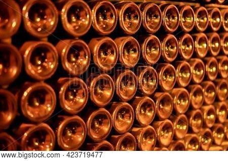 Champagne Grand Cru Sparkling Wine Production In Bottles In Rows In Underground Cellars, Reims, Cham