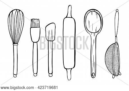 Illustration Of Cute Kitchen Objects For Cooking Are Drawn With A Black Outline. Spatula, Whisk, Col