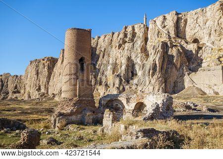 Ruins Of Medieval Osman Mosque & Its Minaret In Old City Of Van, Near Van Fortress, Van, Turkey. For