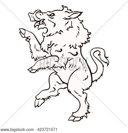 Boar Stands On Its Hind Legs. Black White Illustration. Sketch For Tattoo