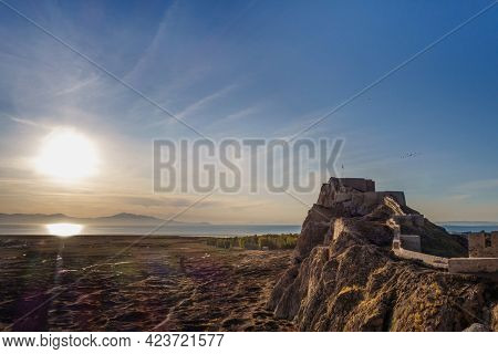 Panoramic View Onto Sunset On Van Lake, Turkey. There Are Van Rock With Van Castle (or Tushpa) & Its