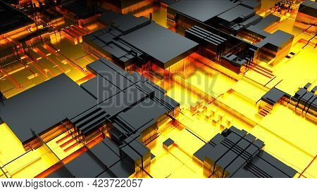Technological 3d Render Abstract Board In Macro Magnification. Modern Industry Blocks Of Transistors