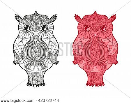 Zen Owl. Detailed Hand Drawn Line Bird With Abstract Patterns On Isolation Background. Abstract Pers