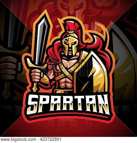 Spartan Esport Mascot Logo Design With Text