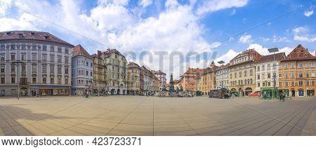 Graz, Austria-april 25, 2021: The Beautiful Main Square Hauptplatz With Colorful Historical Building