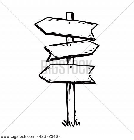 Sketch Direction Sign. Hand Drawn Doodle Style. Wooden Signpost. Vector Illustration.
