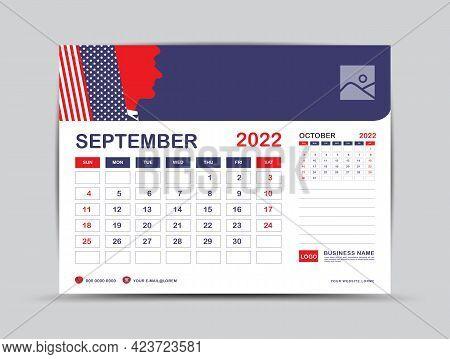 Calendar 2022 Design, September Month Template, Desk Calendar 2022 Layout, Usa Flag Background Conce