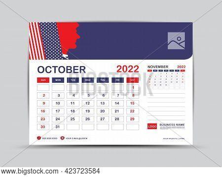 Calendar 2022 Design, October Month Template, Desk Calendar 2022 Layout, Usa Flag Background Concept