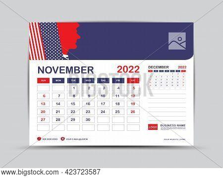 Calendar 2022 Design, November Month Template, Desk Calendar 2022 Layout, Usa Flag Background Concep