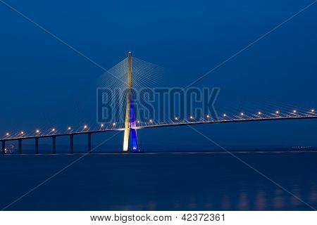 Famous Pont de Normandie spans across river Seine near Le Havre, Normandy poster
