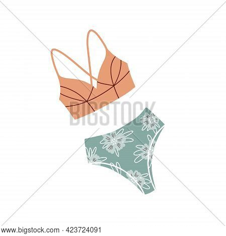 Swimsuit With Floral Print. Modern Fashion Stylish Swimsuit. Vector Illustration. Bathing Clothes
