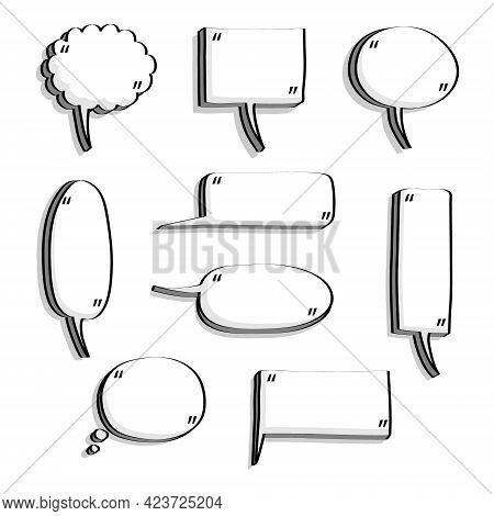 Collection Set Of Blank Hand Drawn Speech Bubble Balloon With Quotation Marks, Think Speak Talk Whis