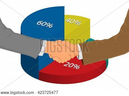 Drawing Graphics Hand Of Businessman Shaking Hands For Successful Negotiation For Business With Pie