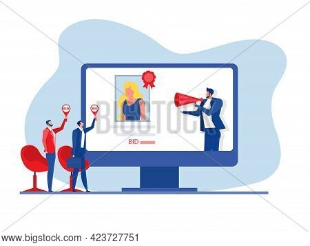 Auction Business Selling Portrait Painting Concept Of Selling Non-fungible Token At Auction On Lapto