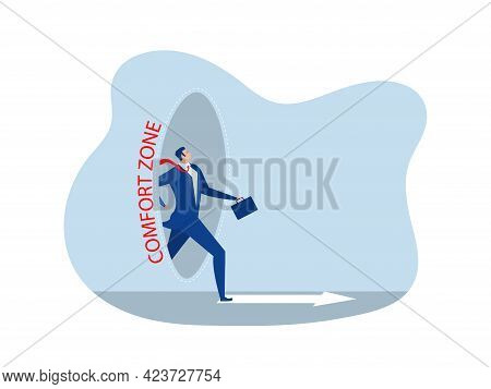 Businessman Step Out Of Comfort Circle For New Success. Comfort Zone Concept Vector Illustrator