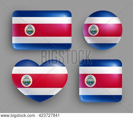 Set Of Glossy Buttons With Costa Rica Country Flag. Central America Country National Flag, Shiny Geo