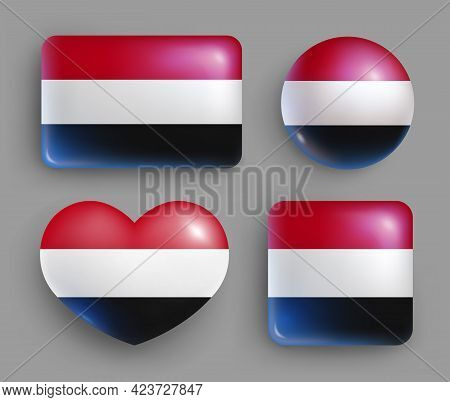 Set Of Glossy Buttons With Yemen Country Flag. Southwest Asia Country National Flag, Shiny Geometric