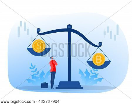 The Coin With The Bitcoin Symbol Outweighs Dollar Currencies Cryptocurrency, Exchange Rate. A Vector