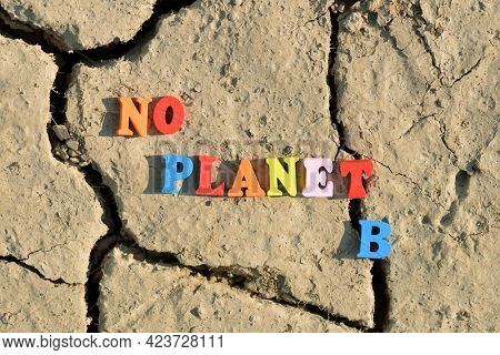 Text No Planet B on arid cracked soil. Concept of climate change or global warming.