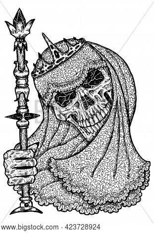Black And White Scary Illustration Of Vector Skull Holding Wand Wearing Bridal Veiling And Crown. My